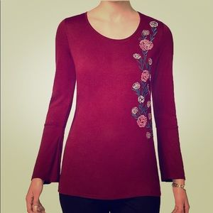 NEW NY Collection Long Sleeve Embroidered Top